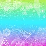 Священная предпосылка символов и элементов геометрии Стоковое Изображение