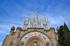 Священное сердце Иисуса в держателе Tibidabo Стоковые Фото