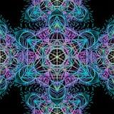 Священные символы геометрии в картине мандалы безшовной Винтажный декабрь иллюстрация штока