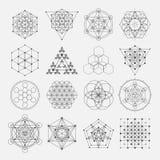 Священные элементы дизайна вектора геометрии спирта Стоковые Изображения RF