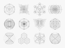 Священный комплект символов и элементов геометрии Стоковые Фотографии RF