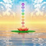 Священный лотос и Chakras Стоковое Изображение RF