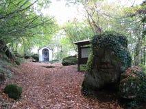 Священный путь установить кабель, внутри леса в осени около Рима Италии Стоковая Фотография