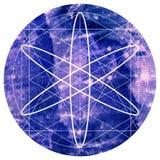 Священный символ геометрии на предпосылке красочной акварели круглой Стоковое Изображение RF
