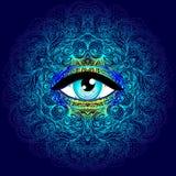 Священный символ геометрии с полностью видя глазом в кисловочных цветах Mysti иллюстрация вектора