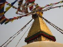 Священный флаг в глазах Bhudda Стоковая Фотография