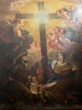 Св. Франциск Св. Франциск Assisi и St Хелен поклоняются истинный крест стоковое изображение rf