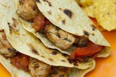 сгоранный томат tacos цыпленка Стоковое фото RF