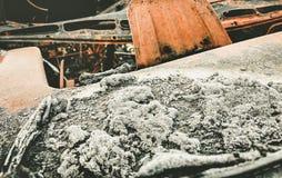 Сгорели вне автомобильная катастрофа стоковая фотография rf
