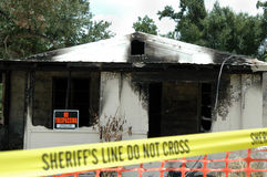 сгорели дом Стоковая Фотография