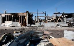 Сгорели здание и погань Стоковое Изображение RF