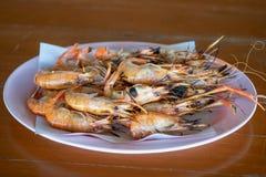 Сгорели морепродукты креветки стоковые изображения rf