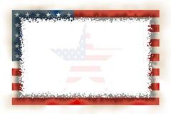 Сгорели рамка американского флага, котор Стоковые Изображения