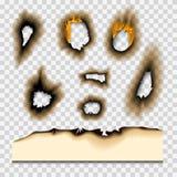 Сгорели сгорели часть, который увяла бумажным иллюстрация вектора золы страницы огня отверстия реалистическим изолированная пламе Стоковые Фото