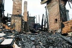 Сгорел частный дом Стоковая Фотография RF