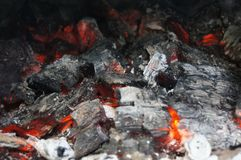 Сгоренный, древесины, огонь, еда, дым Стоковые Изображения