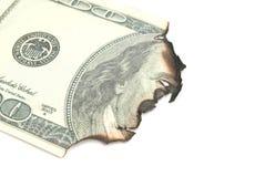 Сгоренный 100 долларов банкнот Стоковое Изображение