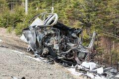 Сгорели автокатастрофа, который Стоковые Изображения
