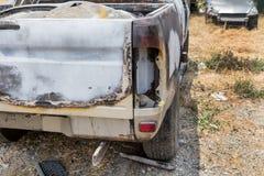 Сгорели автомобиль случайно стоковая фотография