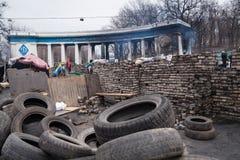Сгорели стадион около баррикад на Euromaidan, Киеве, Украине стоковые фотографии rf