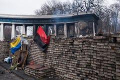 Сгорели стадион около баррикад на Euromaidan, Киеве, Украине стоковая фотография rf