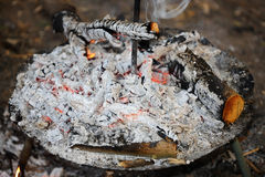 Сгорели уголь и зола от огня Стоковая Фотография