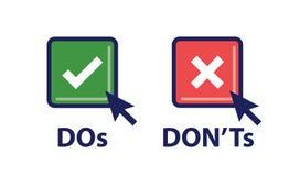 Сделайте и наденьте ` t или хорошие и плохие значки с положительным и отрицательным Sy Стоковые Фото