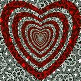 Сделайте по образцу красное сердце на светотеневом орнаменте красивейший вектор Стоковые Изображения