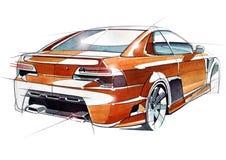 Сделайте эскиз к городскому автомобилю молодости в sporty стиле с мощным высокоскоростным мотором Бесплатная Иллюстрация