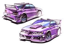 Сделайте эскиз к городскому автомобилю молодости в sporty стиле с мощным высокоскоростным мотором Иллюстрация штока