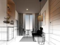 Сделайте эскиз к дизайну внутренней живущей комнаты, 3d Стоковое Фото