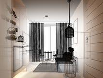 Сделайте эскиз к дизайну внутренней живущей комнаты, 3d Стоковое Изображение