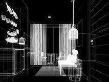 Сделайте эскиз к дизайну внутренней живущей комнаты, 3d Стоковое Изображение RF