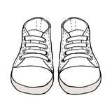 Сделайте эскиз к иллюстрации изолированных ботинок детей на белизне иллюстрация штока