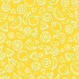 Сделайте эскиз к смешанному вектору предпосылки картины тропических плодоовощей безшовному Стоковое Изображение RF
