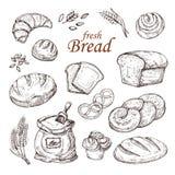 Сделайте эскиз к хлебу, руке нарисованный комплект вектора продуктов хлебопекарни изолированный на белой предпосылке Стоковое Фото