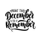 Сделайте этот декабрь для того чтобы вспомнить карточку литерности с snowlakes Ha бесплатная иллюстрация