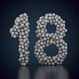 18 сделал из много футболов Стоковые Фотографии RF
