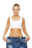 сделал как потеряно много показывая женщине веса стоковые изображения