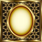 сделанное по образцу золото рамки предпосылки флористическое Стоковая Фотография