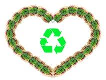 сделанные листья сердца рециркулируют символ формы Стоковая Фотография