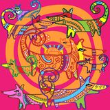 Сделанные по образцу собаки и спирали апельсина Стоковая Фотография RF