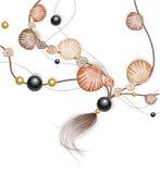 сделанные раковины моря ожерелья иллюстрация штока