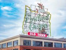Сделанный в рогаче Орегона белом подпишите внутри старый городок Портленд Орегон стоковое изображение rf