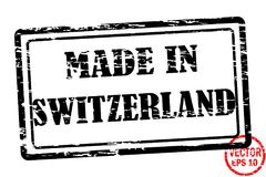 Сделанный в Швейцарии - шаблоне grunged штемпеля черного квадрата для дела изолированного на белой предпосылке Стоковые Изображения