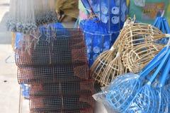 Сделанный магазин корзин Много вид корзины которое сделано бамбука wicker корзины handmade тайский Оно Стоковые Фото