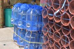 Сделанный магазин корзин Много вид корзины которое сделано бамбука wicker корзины handmade тайский Оно Стоковое фото RF