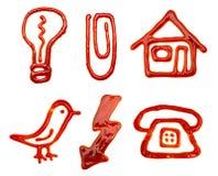 сделанный ketchup икон Стоковые Фотографии RF