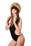 сдерживая черная женщина swimsuit перл стоковые изображения