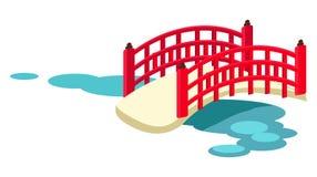 Сдобренный японцем мост сада через вектор пруда иллюстрация штока
